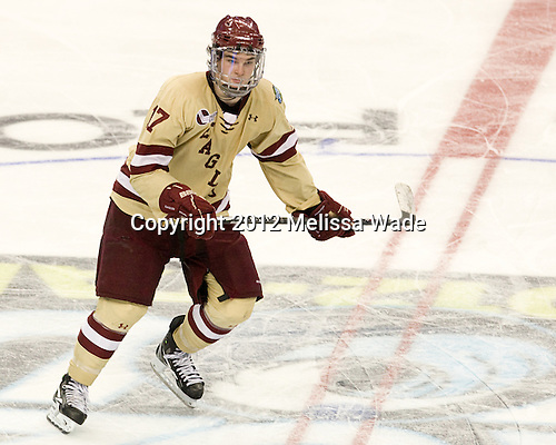 Destry Straight (BC - 17) - The Boston College Eagles defeated the University of Minnesota Golden Gophers 6-1 in their 2012 Frozen Four semi-final on Thursday, April 5, 2012, at the Tampa Bay Times Forum in Tampa, Florida.