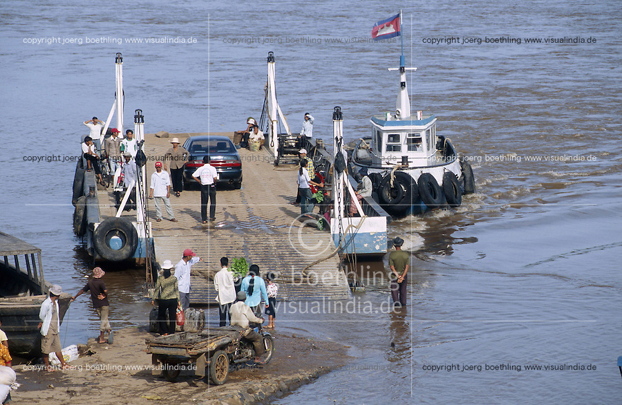 CAMBODIA Mekong River and ferry boat / KAMBODSCHA Fähre auf Mekong Fluß