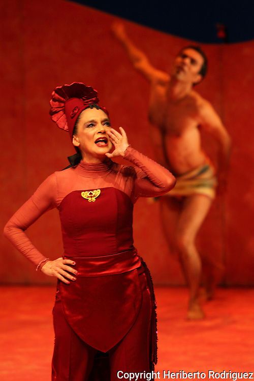 Mexican actress Ofelia Medina performs along with Ruben Albarran the play El Placer de Nuestra Lengua in the Mexico City's Julio Castillo theatre, April 01, 2011. Photo by Heriberto Rodriguez