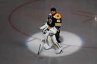 June 12, 2019: Boston Bruins goaltender Tuukka Rask (40) during the signing of the national anthem at game 7 of the NHL Stanley Cup Finals between the St Louis Blues and the Boston Bruins held at TD Garden, in Boston, Mass.  The Saint Louis Blues defeat the Boston Bruins 4-1 in game 7 to win the 2019 Stanley Cup Championship.  Eric Canha/CSM.
