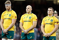Australia's Stephen Moore observing a minutes silence before kick off<br /> <br /> Photographer Simon King/CameraSport<br /> <br /> International Rugby Union - 2017 Under Armour Series Autumn Internationals - Wales v Australia - Saturday 11th November 2017 - Principality Stadium - Cardiff<br /> <br /> World Copyright &copy; 2017 CameraSport. All rights reserved. 43 Linden Ave. Countesthorpe. Leicester. England. LE8 5PG - Tel: +44 (0) 116 277 4147 - admin@camerasport.com - www.camerasport.com
