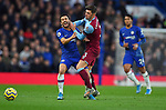 Pedro of Chelsea is challenged by Aaron Cresswell of West Ham United  during the Premier League match at Stamford Bridge, London. Picture date: 30th November 2019. Picture credit should read: Robin Parker/Sportimage