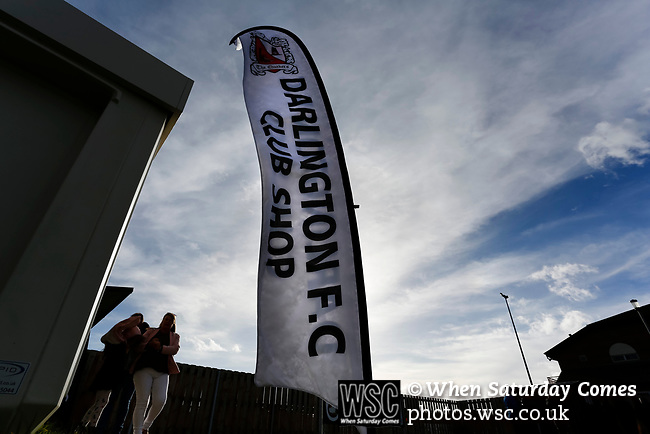 A banner outside outside the Darlington club shop. Darlington 1883 v Southport, National League North, 16th February 2019. The reborn Darlington 1883 share a ground with the town's Rugby Union club. <br />