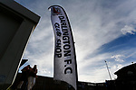A banner outside outside the Darlington club shop. Darlington 1883 v Southport, National League North, 16th February 2019. The reborn Darlington 1883 share a ground with the town's Rugby Union club. <br /> After several years of relegations, bankruptcies, and ground moves, the club is fan owned, and back on an even keel in the National League North.<br /> A 0-0 draw with Southport was marred by a broken leg and dislocated knee suffered by Sam Muggleton, Darlington's on loan left back.<br /> Both teams finished the season in lower mid table.