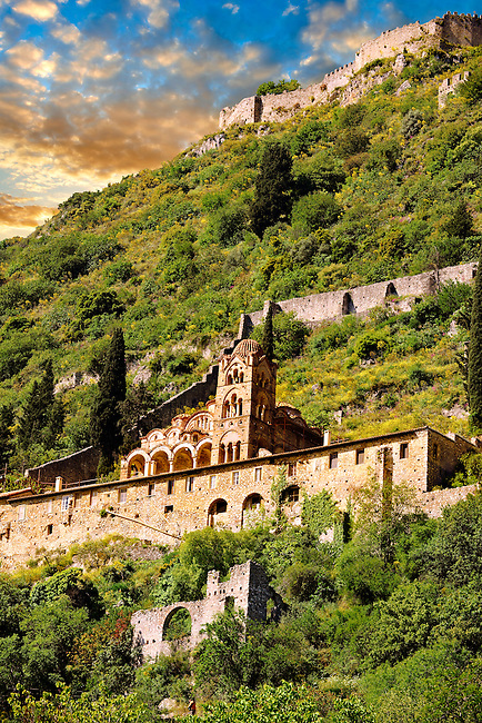 View of Mystras looking up towards the castle fortifications  and the Byzantine Othodox monastery of Pantanassa ,  Mystras ,  Sparta, the Peloponnese, Greece. A UNESCO World Heritage Site