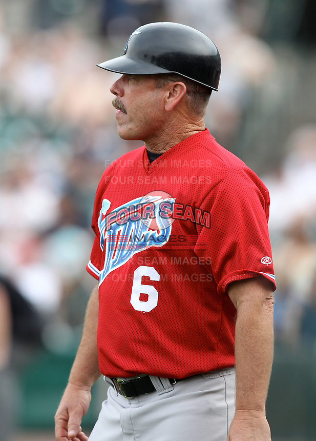 Norfolk Tides Coach Gary Allenson (6) during a game vs. the Rochester Red Wings at Frontier Field in Rochester, New York;  May 31, 2010.  Norfolk defeated Rochester by the score of 2-1.  Photo By Mike Janes/Four Seam Images