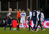 Referee Firat Aydinus  (2.f.l, TUR), during the friendly match Italy against USA at the Stadium Luigi Ferraris at Genoa Italy on february the 29th, 2012.