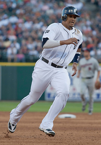 June 01, 2011:  Detroit Tigers designated hitter Victor Martinez (#41) rounds third base in game action during MLB game between the Minnesota Twins and the Detroit Tigers at Comerica Park in Detroit, Michigan.  The Tigers defeated the Twins 4-2.