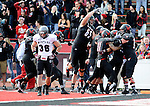 Nov 8, 2014; Cheney, WA, USA; Eastern Washington Eagles offense celebrates a touchdown against the Montana Grizzlies during the first half at Roos Field. Mandatory Credit: James Snook-USA TODAY Sports