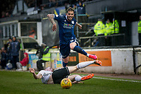 7th March 2020; Somerset Park, Ayr, South Ayrshire, Scotland; Scottish Championship Football, Ayr United versus Dundee FC; Declan McDaid of Dundee is fouled by Jordan Houston of Ayr United