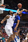 MILWAUKEE, WI - MARCH 18: Butler Bulldogs forward Tyler Wideman (4) fouls Middle Tennessee Blue Raiders guard Antwain Johnson (2) on an attempted dunk during the first half of the 2017 NCAA Men's Basketball Tournament held at BMO Harris Bradley Center on March 18, 2017 in Milwaukee, Wisconsin. (Photo by Jamie Schwaberow/NCAA Photos via Getty Images)