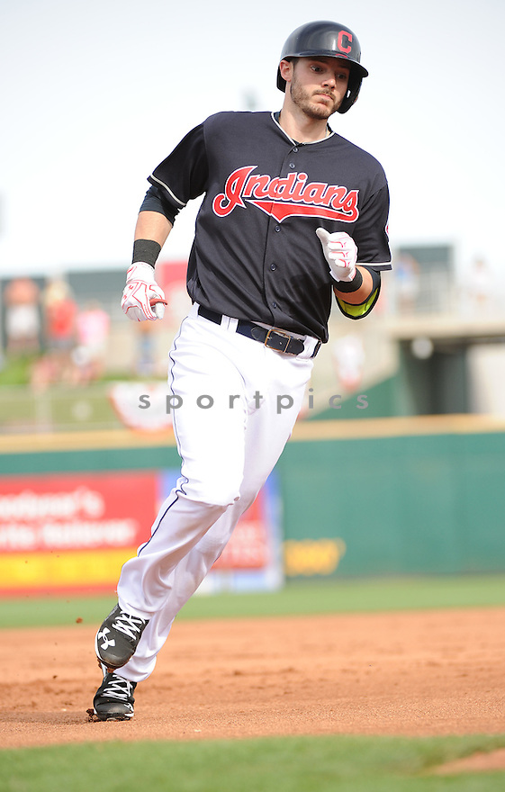 Cleveland Indians Eric Stametz (77) during a pre-season game against the Cincinnati Reds on March 1, 2016 at Goodyear Ballpark in Goodyear, AZ. The Reds beat the Indians 6-5.