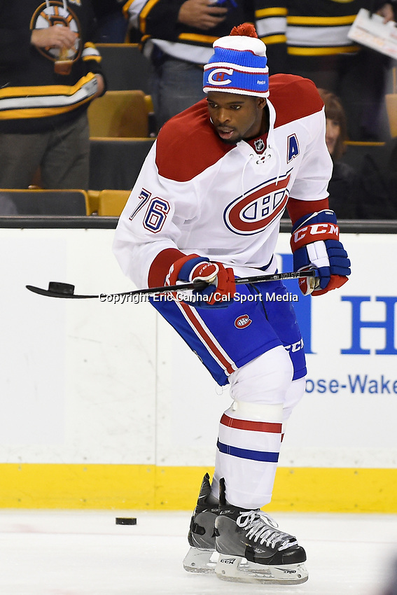 Saturday, October 10, 2105: Montreal Canadiens defenseman P.K. Subban (76) warms up for the NHL game between the Montreal Canadiens and the Boston Bruins held at TD Garden, in Boston, Massachusetts.  Montreal defeats Boston 4-2 in regulation time. Eric Canha/CSM