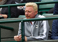 London, England, 2 July, 2016, Tennis, Wimbledon, Boris Becker the coach of Novak Djokovic (SRB)<br /> Photo: Henk Koster/tennisimages.com