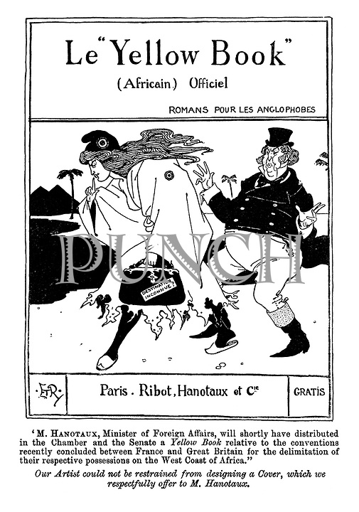 "Le ""Yellow Book"" (Africain) Officiel. Romans pour Les Anglophobes. (a Victorian cartoon shows a parody of the book cover The Yellow Book with John Bull following Marianne to an Unknown Destination)"