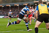 Semesa Rokoduguni of Bath Rugby runs in a try in the second half. Aviva Premiership match, between Bath Rugby and Gloucester Rugby on October 29, 2017 at the Recreation Ground in Bath, England. Photo by: Patrick Khachfe / Onside Images