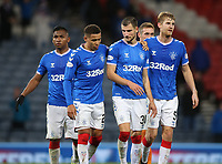 3rd November 2019; Hampden Park, Glasgow, Scotland; Scottish League Cup Football, Rangers versus Heart of Midlothian; James Tavernier of Rangers and Borna Barisic of Rangers walk arm in arm after the match  - Editorial Use