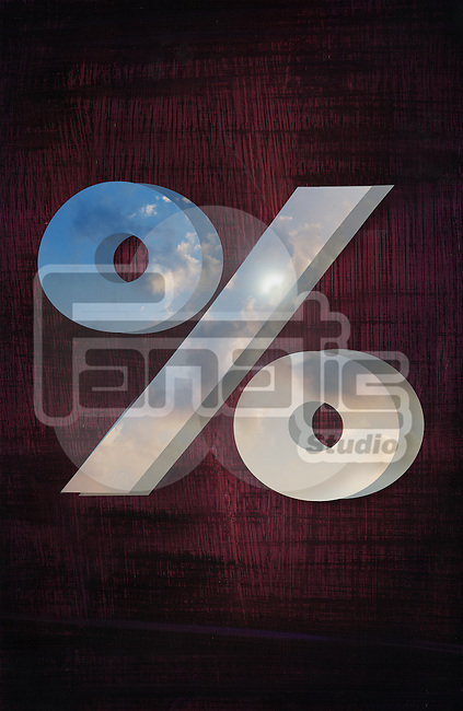 Illustrative image of percentage sign on colored background