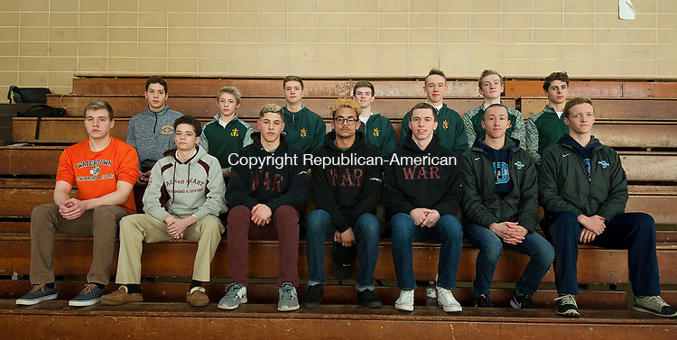 WATERBURY,  CT-032217JS06 --Members of the All-NVL Swim Team, front row, from left, Arion Mete-Watertown; Ben Gomes-Sacred Heart; Evan Bombery-Naugatuck; Eric Cruz-Naugatuck; Brian Goggin-Naugatuck; Christopher Fogarty-Oxford and Spencer Moran-Oxford. Back row, from left, Alex Cupic-Seymour; Lucas Racevicius-Holy Cross; Ryan Hinkey-Holy Cross; Chris Fryer-Holy Cross; John Tucker-Holy Cross; Ben Bower-Holy Cross and Sam Mason-Holy Cross. Missing are Peter Morrissey-Naugatuck Riley Clark-Woodland and Daniel Walsh-Sacred Heart.   Jim Shannon Republican-American