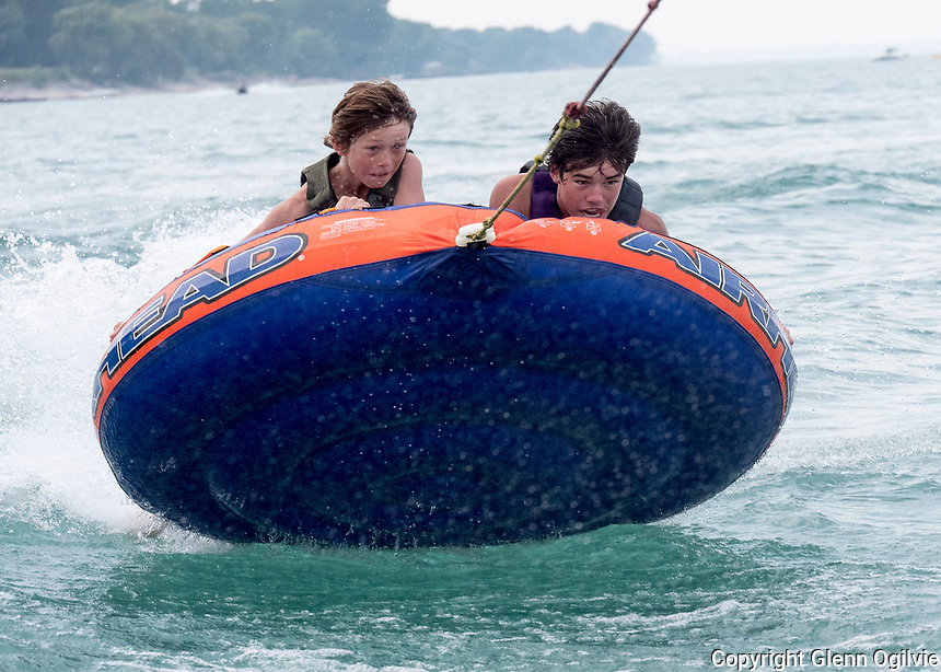 "Having a blast tubbing on Lake Huron at Brights Grove are; Will O'Leary-Dilosa and his brother Logan. The brothers spent an afternoon being pulled around the lake by their sister ""driver"" Jessica O'Leary-Dilosa and Jessica, ""the spotter"" DaCunha"