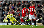 Joel Robles of Everton is sent the wrong way by Zlatan Ibrahimovic of Manchester United to equalise the match in extra time during the English Premier League match at Old Trafford Stadium, Manchester. Picture date: April 4th 2017. Pic credit should read: Simon Bellis/Sportimage