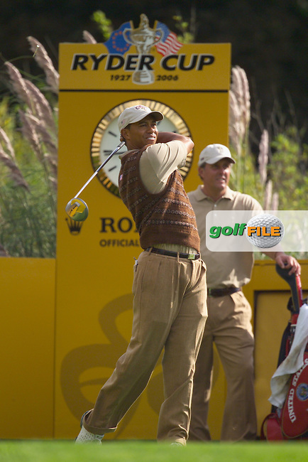 Straffin Co Kildare Ireland. K Club Ruder Cup...TIger Woods teeing off from the 16th tee box at the K Club in Straffan, Co Kildare, Ireland, 21 September 2006. The Ryder Cup competition between the American and European teams starts 22 September...Photo: Eoin Clarke/ Newsfile..