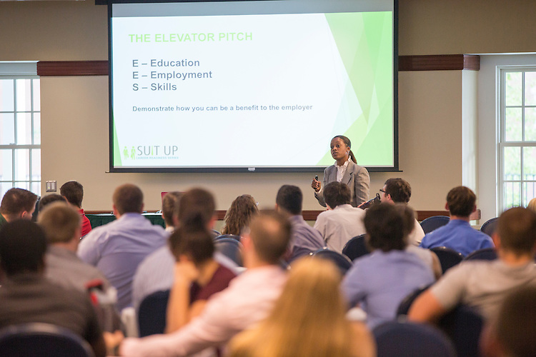 Brittany Tyree, the Senior Assistant Director of Career Management, shares advice on how to give a successful pitch to potential employers during the How to Meet the Firms interactive student workshop on Sept. 6, 2016. Photo by Emily Matthews
