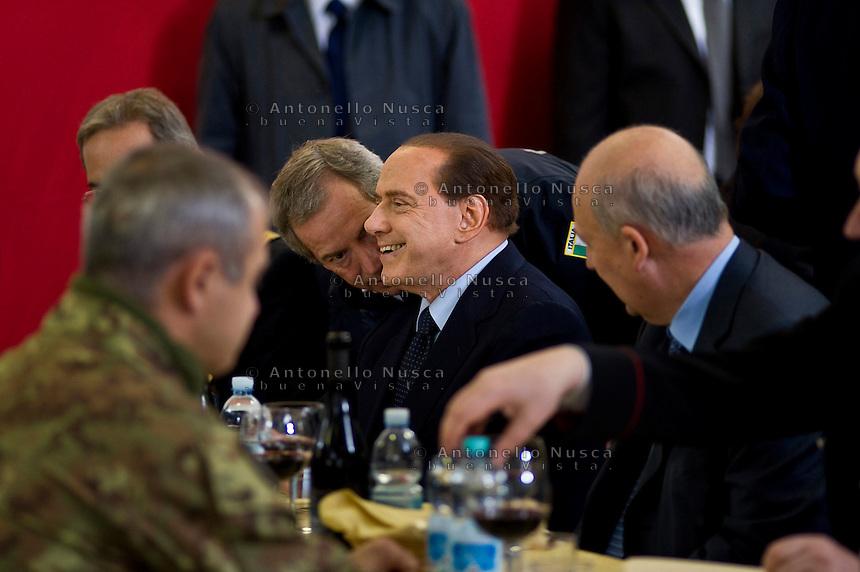 Roma, 4 Novembre, 2009. Silvio Berlusconi con Guido Bertolaso all'Aquila per la consegna di nuove case ai terremotati