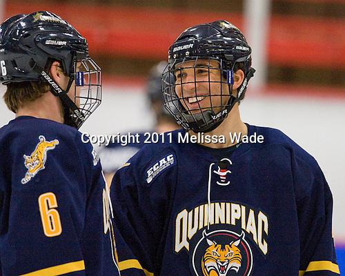 Cory Hibbeler (Quinnipiac - 6), Loren Barron (Quinnipiac - 4) - The Harvard University Crimson and Quinnipiac University Bobcats played to a 2-2 tie on Saturday, November 5, 2011, at Bright Hockey Center in Cambridge, Massachusetts.