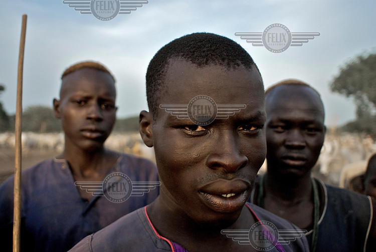 A group of Dinka men in a cattle camp.