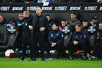 Steve Cooper Head Coach of Swansea City shouts instructions to his team from the dug-out during the Sky Bet Championship match between Swansea City and West Bromwich Albion at the Liberty Stadium in Swansea, Wales, UK. Saturday 07 March 2020