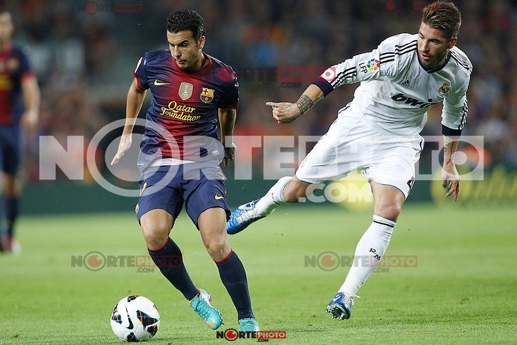 Barcelona's Pedro Rodriguez and Real Madrid's Sergio Ramos during la Liga match on october 7th 2012. ..Photo: Cesar Cebola  / ALFAQUI /©NortePhoto