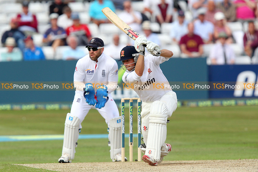 Ben Foakes hits out for Essex as Matt Prior looks on - Essex CCC vs England - LV Challenge Match at the Essex County Ground, Chelmsford - 01/07/13 - MANDATORY CREDIT: Gavin Ellis/TGSPHOTO - Self billing applies where appropriate - 0845 094 6026 - contact@tgsphoto.co.uk - NO UNPAID USE
