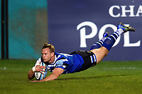 Chris Cook of Bath Rugby dives for the try-line in the second half. Gallagher Premiership match, between Bath Rugby and Exeter Chiefs on October 5, 2018 at the Recreation Ground in Bath, England. Photo by: Patrick Khachfe / Onside Images