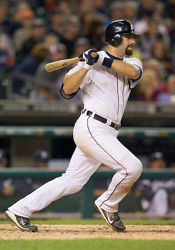 September 26, 2011:  Detroit Tigers catcher Alex Avila (#13) singles to right during MLB game action between the Cleveland Indians and the Detroit Tigers at Comerica Park in Detroit, Michigan.  The Tigers defeated the Indians 14-0.