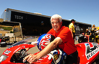 Jul. 17, 2010; Sonoma, CA, USA; NHRA pro stock motorcycle rider Mike Berry during qualifying for the Fram Autolite Nationals at Infineon Raceway. Mandatory Credit: Mark J. Rebilas-