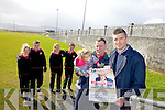 Planning a three legged race and hoping to make it a world record this Saturday with funds raised going to Castlegregory GAA were: Pierce and Ella Ferriter with Mean Scoil an Leith Triuigh principal Aódan MacGearailt and students Leona Spillane, Iordáin Breathnach, Poppy Overy and Conor Shannon. .