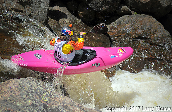 June 8, 2017 - Vail, Colorado, U.S. -  USA's, Dane Jackson, powers his way through Homestake Creek's Little Sunshine Rapid in the Steep Creek competition during the GoPro Mountain Games, Vail, Colorado.  Adventure athletes from around the world meet in Vail, Colorado, June 8-11, for America's largest celebration of mountain sports, music, and lifestyle.