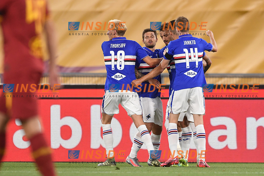 Manolo Gabbiadini of Sampdoria celebrates after scoring a goal with Thorsby and Jankto<br /> during the Serie A football match between AS Roma and UC Sampdoria at Olimpico stadium in Rome ( Italy ), June 24th, 2020. Play resumes behind closed doors following the outbreak of the coronavirus disease. <br /> Photo Andrea Staccioli / Insidefoto