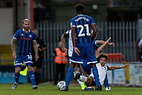 Bolton Wanderers' Eddie Brown (right) tackles<br /> <br /> Photographer Andrew Kearns/CameraSport<br /> <br /> The Carabao Cup First Round - Rochdale v Bolton Wanderers - Tuesday 13th August 2019 - Spotland Stadium - Rochdale<br />  <br /> World Copyright © 2019 CameraSport. All rights reserved. 43 Linden Ave. Countesthorpe. Leicester. England. LE8 5PG - Tel: +44 (0) 116 277 4147 - admin@camerasport.com - www.camerasport.com
