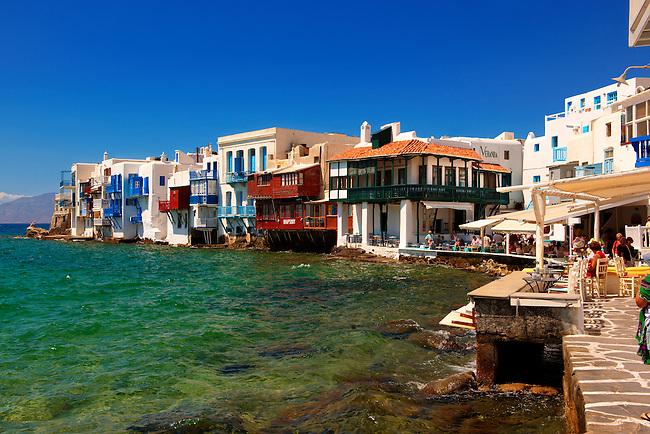 The Venetia neibourhood of the Kastro District of Chora, Mykonos, Cyclades Islands, Greece