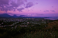 Kailua town and beach, on the windward side of Oahu with moonset at dusk