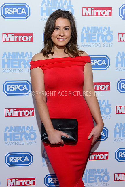 www.acepixs.com<br /> <br /> September 7 2017, London<br /> <br /> Jasmine Armfield attending the Animal Hero Awards 2017 on at the Grosvenor Hotel on September 7 2017 in London<br /> <br /> By Line: Famous/ACE Pictures<br /> <br /> <br /> ACE Pictures Inc<br /> Tel: 6467670430<br /> Email: info@acepixs.com<br /> www.acepixs.com