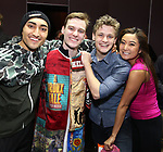 "Nikhil Saboo, Brendon Stimson, Ben Cook and Ashley Parker during the Actors' Equity Opening Night Gypsy Robe Ceremony honoring Brendon Stimson for ""Mean Girls"" at the August Wilson Theatre Theatre on April 8, 2018 in New York City."