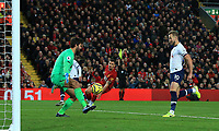 27th October 2019; Anfield, Liverpool, Merseyside, England; English Premier League Football, Liverpool versus Tottenham Hotspur; Harry Kane of Tottenham Hostpur puts the ball into the net past Liverpool goalkeeper Alisson but has his effort disallowed for offside - Strictly Editorial Use Only. No use with unauthorized audio, video, data, fixture lists, club/league logos or 'live' services. Online in-match use limited to 120 images, no video emulation. No use in betting, games or single club/league/player publications