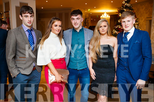 Dan O'Brien, Aine Brosnan, DJ Murphy, Lisa Looney and Donnchadh O'Sullivan, pictured at the Kerry GAA awards held at The Rose Hotel, Tralee on Saturday night last.