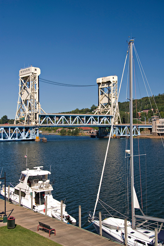 The Portage Canal and lift bridge between the cities of Houghton and Hancock Michigan.