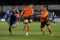 8th November 2019; Dens Park, Dundee, Scotland; Scottish Championship Football, Dundee Football Club versus Dundee United; Andrew Nelson of Dundee challenges for the ball with Jamie Robson and Louis Appere of Dundee United  - Editorial Use