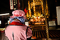 AUGUST 7, 2016 - A cosplayer prays at Osu Kannon temple prior to the start of parade during the World Cosplay Summit in Nagoya, Japan.<br /> <br /> The week-long event attracts thousands of cosplayers from Japan and around the world. Cosplay, or costume play, involves participants dressing and acting as characters from TV, movies, comics, and video games. (Photo by Ben Weller/AFLO) (JAPAN) [UHU]