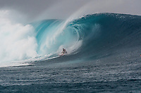 Namotu Island Resort, Nadi, Fiji (Sunday, May 27th 2018):  Laurie Towner (AUS) -<br /> There had been strong SE winds all night along with heavy rain so the ocean was messy at first light. Cloudbreak was big and bumpy at dawn and the namotu boat was the first in the line up. The set waves were in the 15' plus range  and the ocean needed to settle down before any one hit the water.<br /> As the tide dropped it cleaned up and the first surfers paddled out. The first ridden waves were tow-in and in the 20' plus range. The swell was the biggest just after the low tide and stayed in the 15'-20' range for the rest of the day.<br /> Crew paddled and towed into the waves and there were also crew who kite surfed when the wind ws strong enought.<br /> There were strong wind all day and overcast conditions with long periods of rain. The huge swell forecast had big wave surfers flying in from around the world and it had already been call the 'Black Mamba' swell, one of the biggest to hit Fiji in the past six years.  <br /> Photo: joliphotos.com